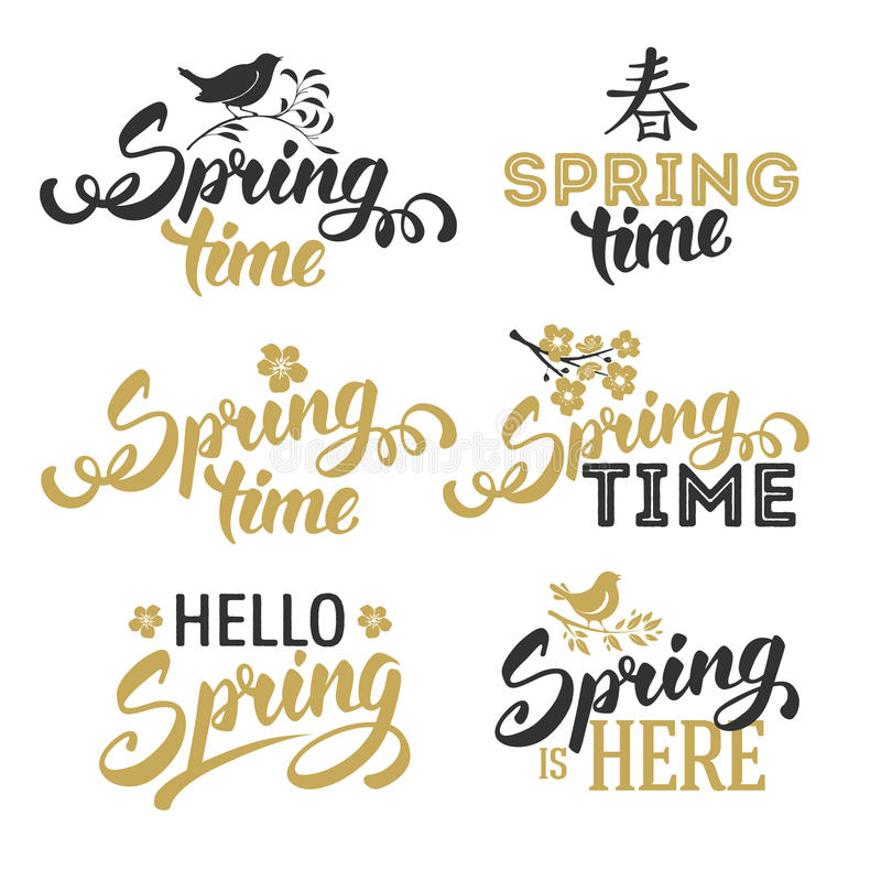 Spring Time. Spring Typographical Lettering Designs Set. Text Spring Time. Hello Spring. Spring Calligraphic Design. Overlays on Spring Theme. Isolated on White royalty free illustration