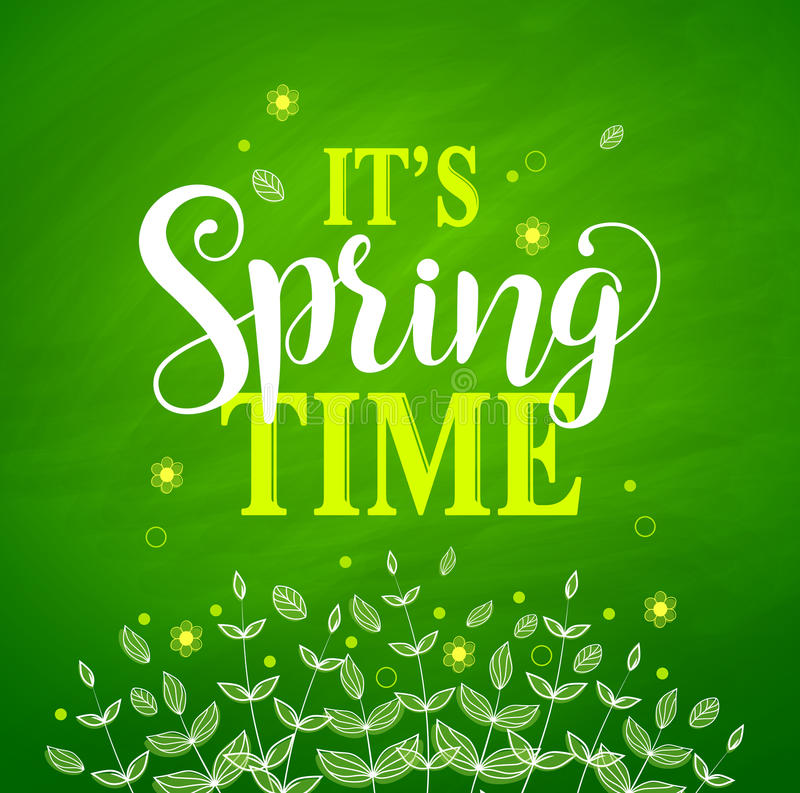 Spring time vector banner design in textured green background royalty free illustration