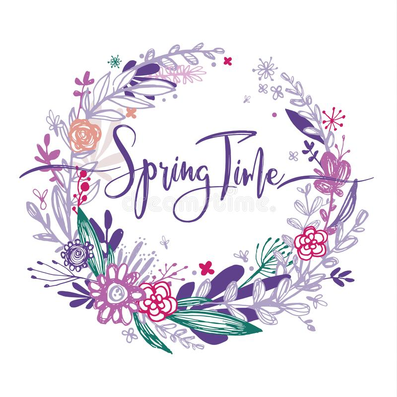 Spring time wording with hand drawn flowers in a circle, purple doodle elements, grass, leaves, flowers. Vector. Illustration, design element for congratulation stock illustration