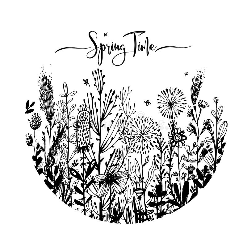 Spring time wording with hand drawn flowers in a circle, Set of black doodle elements, grass, leaves, flowers. Vector. Illustration, design element for vector illustration