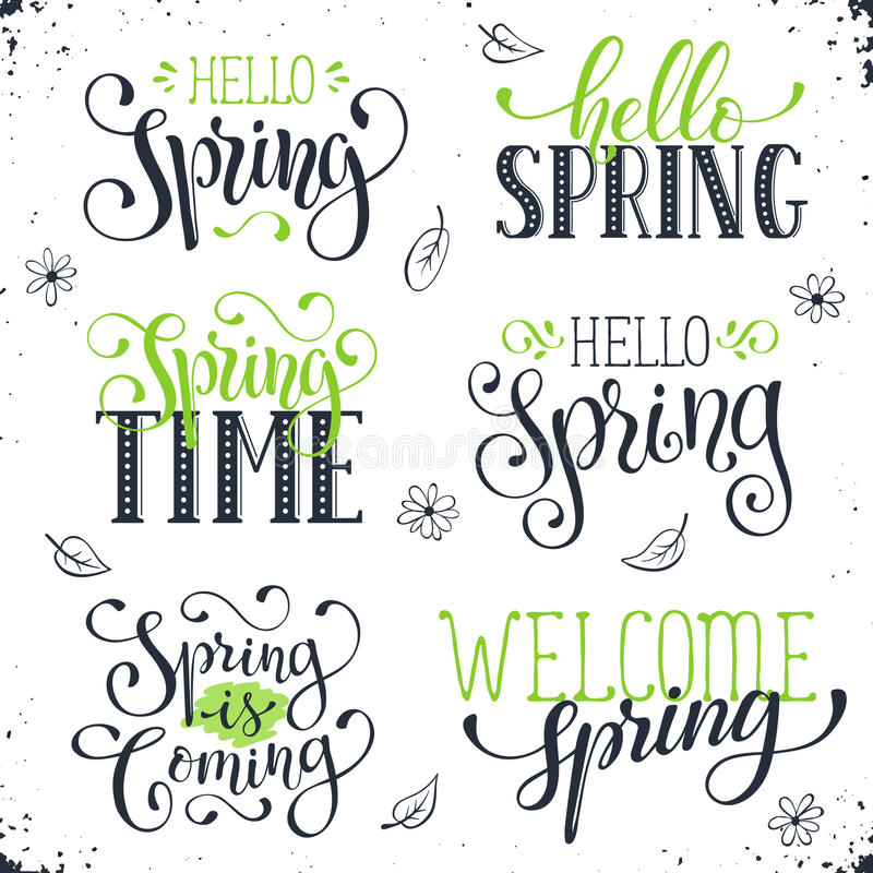 Spring time wording. Hand written Spring time phrases in black and green. Greeting card text templates on white background. Hello Spring lettering in modern royalty free illustration