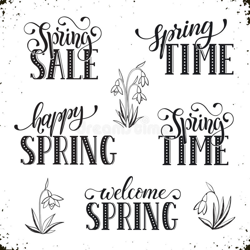 Spring time wording. Hand written Spring time phrases. Greeting card text templates isolated on white background. Spring Sale lettering in modern calligraphy stock illustration