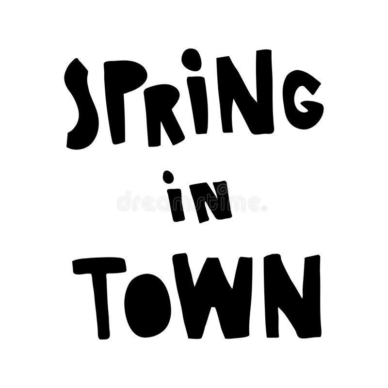 Spring in town vector illustration