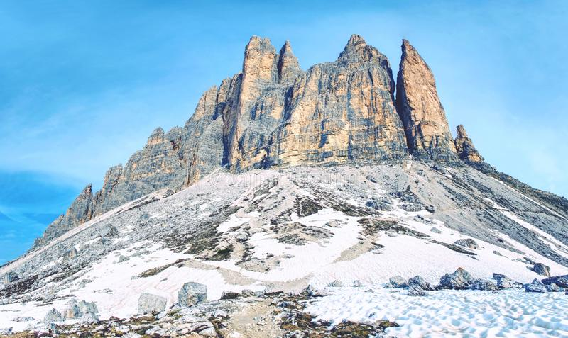 Spring on trail around Tre Cime & x28;Three Peaks& x29; di Lavaredo massive. The famous Mountains in Dolomites. Very popular touristic place in North Italy royalty free stock photos