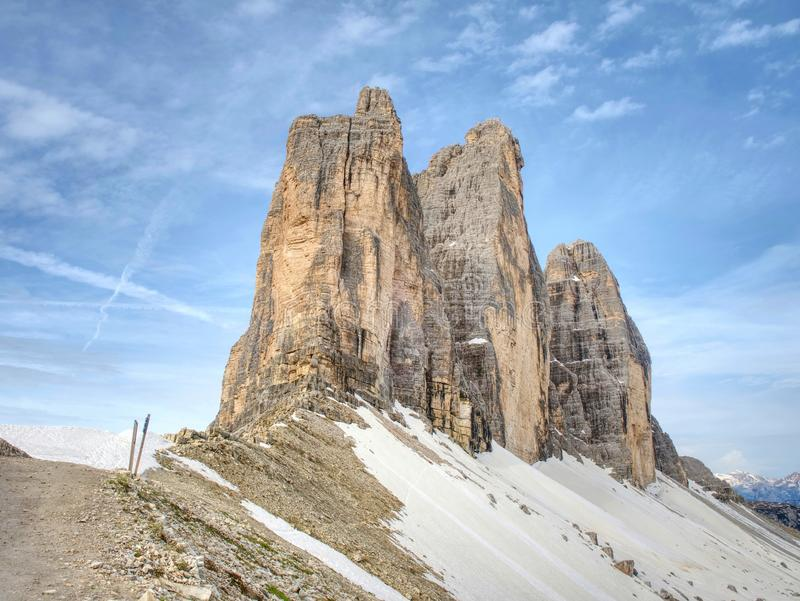 Spring on trail around Tre Cime & x28;Three Peaks& x29; di Lavaredo massive. The famous Mountains in Dolomites. Very popular touristic place in North Italy stock images