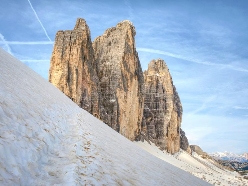 Spring on trail around Tre Cime & x28;Three Peaks& x29; di Lavaredo massive. The famous Mountains in Dolomites. Very popular touristic place in North Italy stock photos