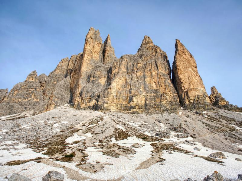 Spring on trail around Tre Cime & x28;Three Peaks& x29; di Lavaredo massive. The famous Mountains in Dolomites. Very popular touristic place in North Italy royalty free stock photo