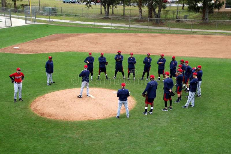 A 2015 Spring Training Coaching Session royalty free stock image