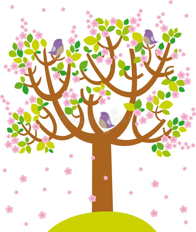 Spring tree. Illustration of spting cherry tree with birds