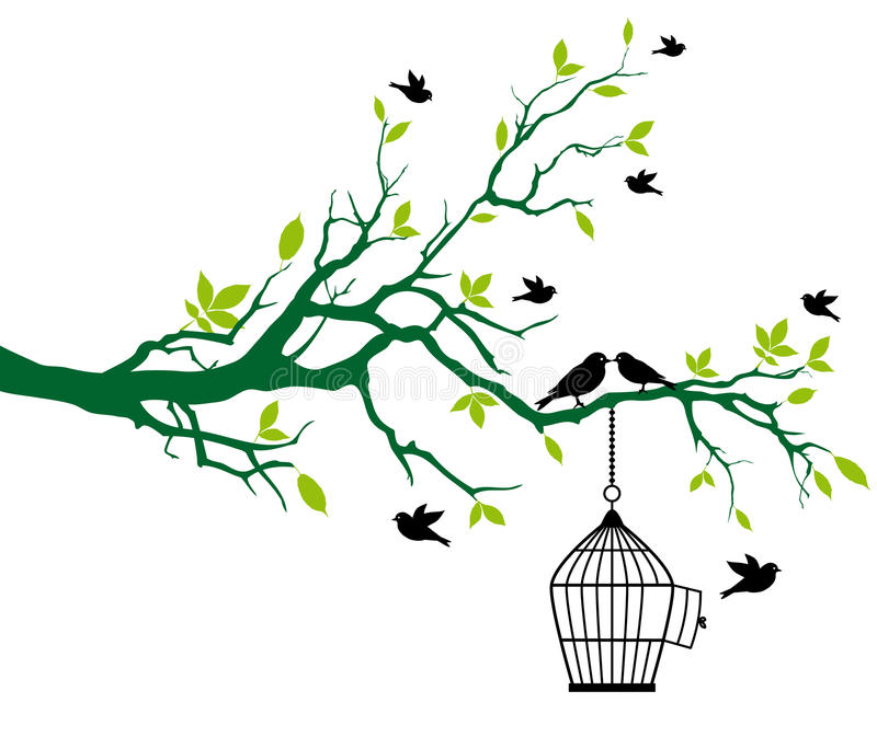 Spring tree with birdcage and kissing birds vector illustration