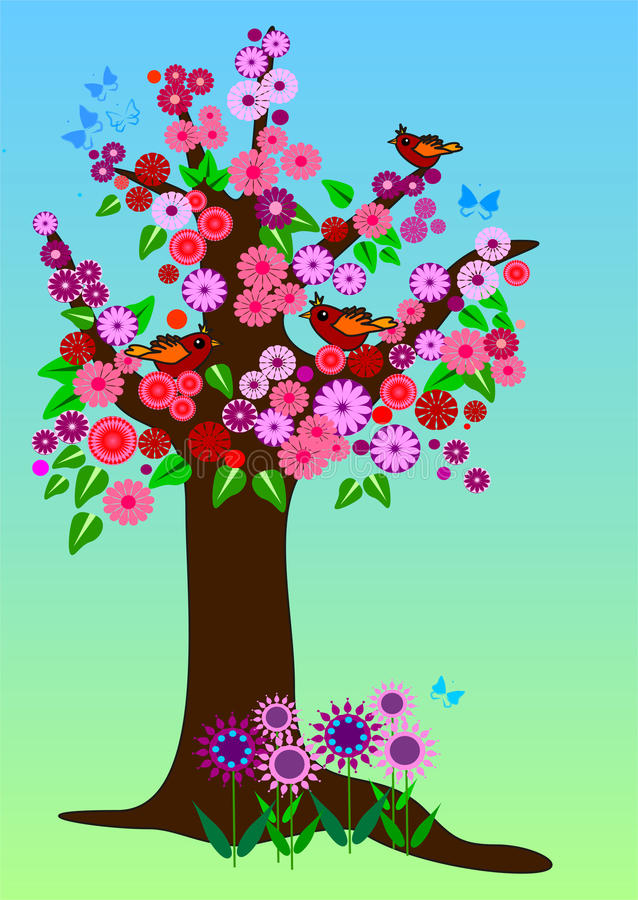Spring tree with flowers. Illustration with a tree with lots of decorative flowers. In the tree are little birds and blue swirling butterflies around vector illustration