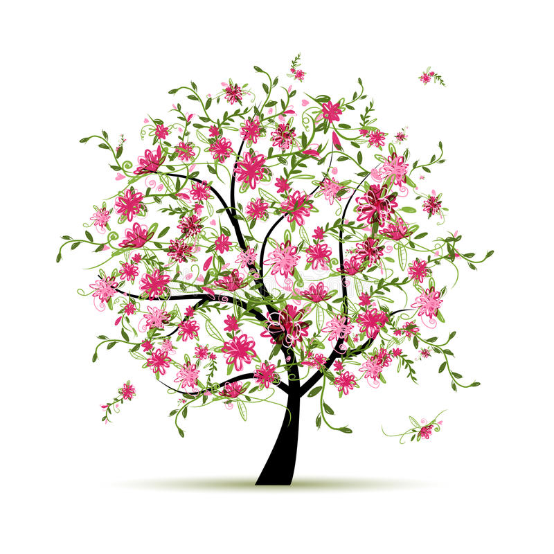 Spring tree with roses for your design vector illustration