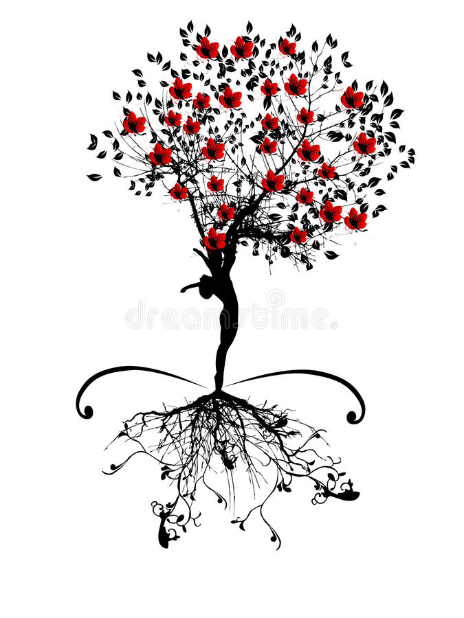Spring tree with women silhouette vector illustration