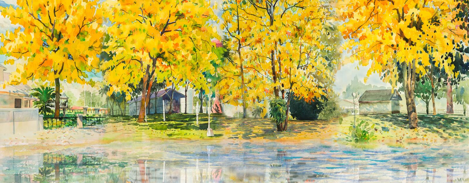 Spring trees painting watercolor landscape of flowers stock download spring trees painting watercolor landscape of flowers stock illustration illustration of artistic mightylinksfo