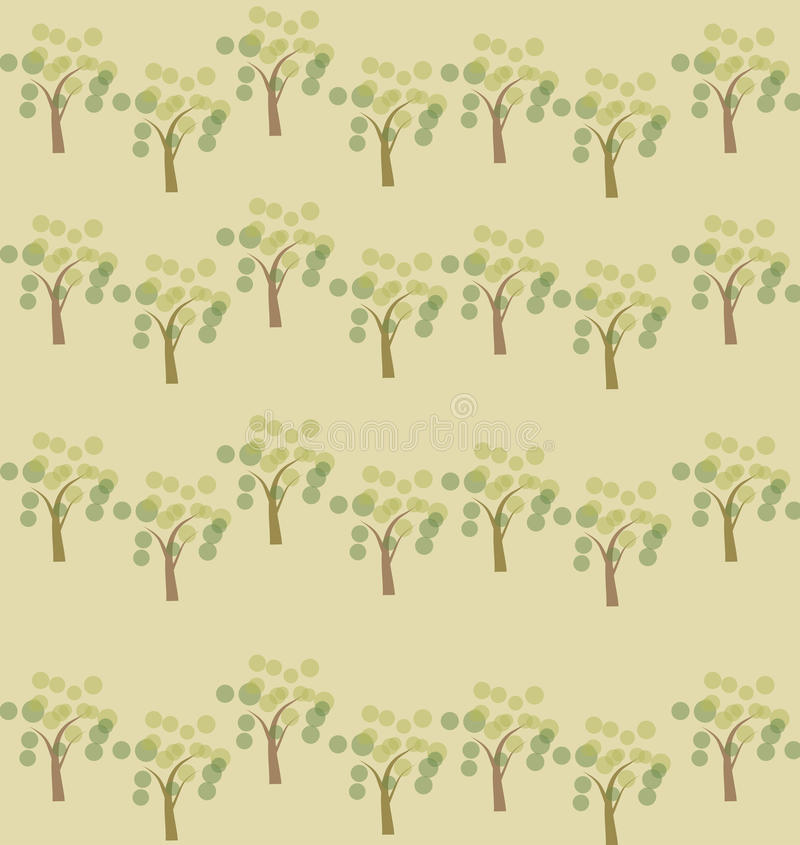 Spring trees seamless pattern background. Editable color background stock illustration