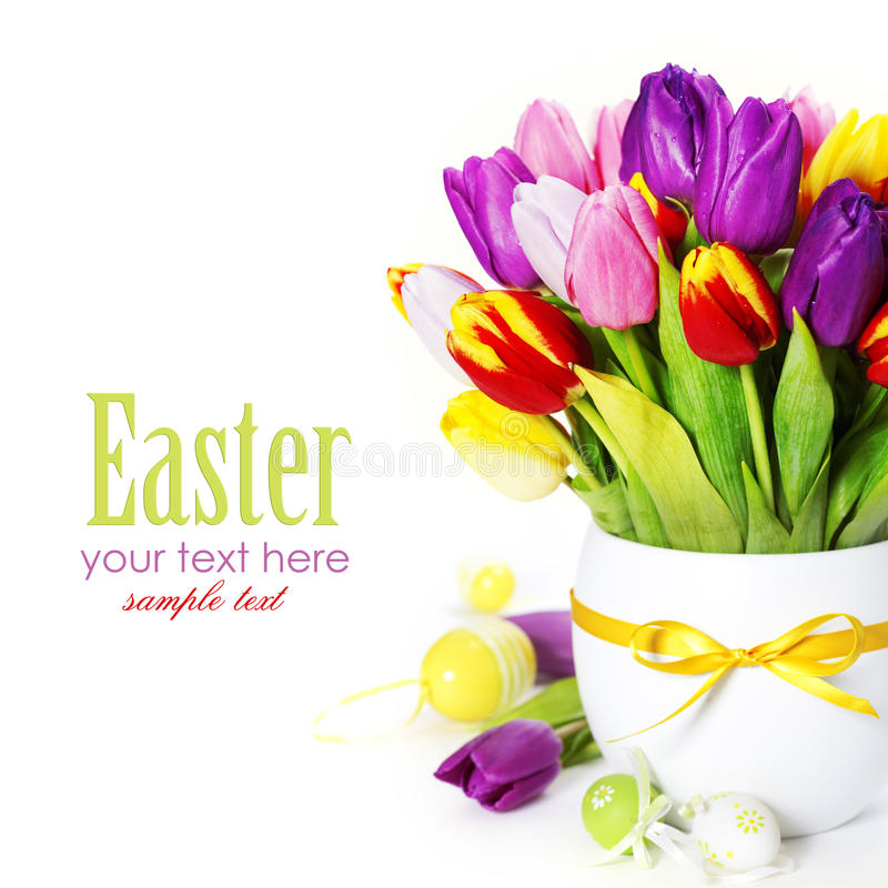 Download Spring Tulips With Easter Eggs Stock Image - Image: 22924033