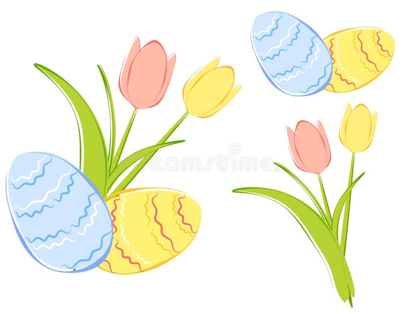 Spring Tulips and Easter Eggs Clipart royalty free illustration