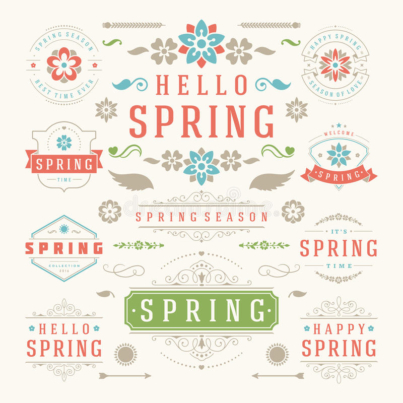 Spring Typographic Design Set. Retro and Vintage Style Templates. vector illustration