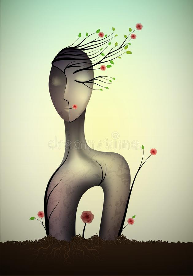 Spring unknown soul, surrealistic woman statue, woman shape abstract idea with red rose growing, woman happy dream icon. Concept, surrealism, vector stock illustration