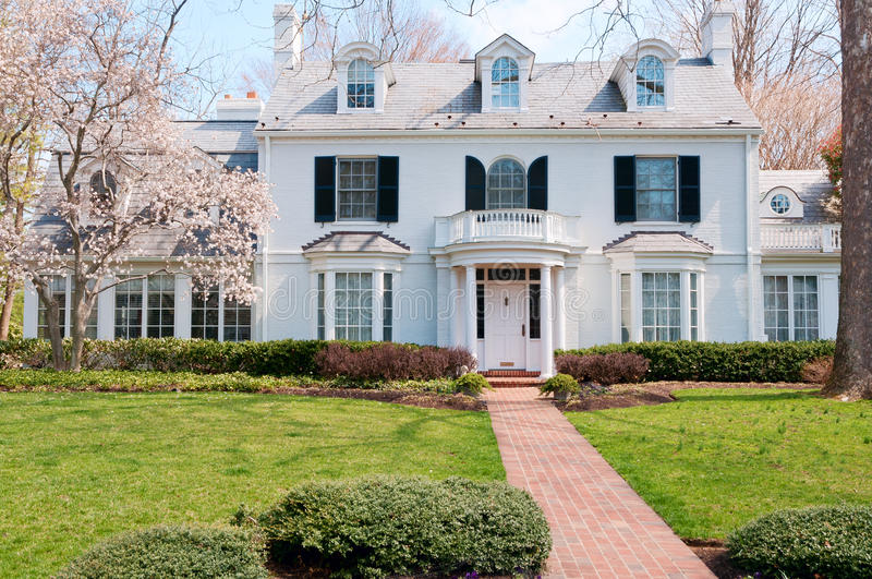 Spring at upscale house in Maryland stock photo