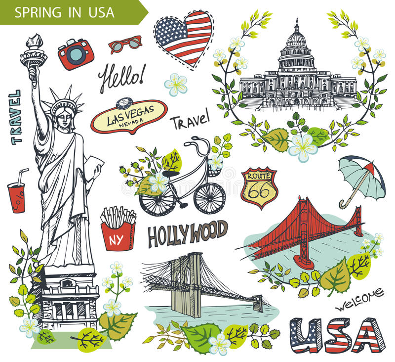 Spring In Usafamous Landmarksfloral Decor Set Stock Vector