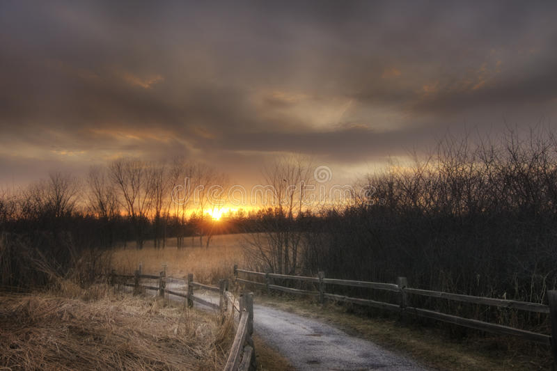Spring Valley at Sunset. Spring Valley Nature Center at Sunset, Schaumburg, IL stock photo