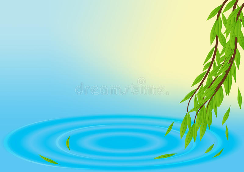 Spring vector background with water and leaves. Vector water ripple and tree twigs with green leaves vector illustration