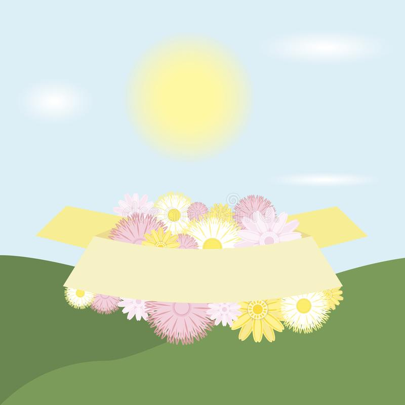 spring vector banner greetings design with colorful flower elements in green floral background for spring season. royalty free illustration