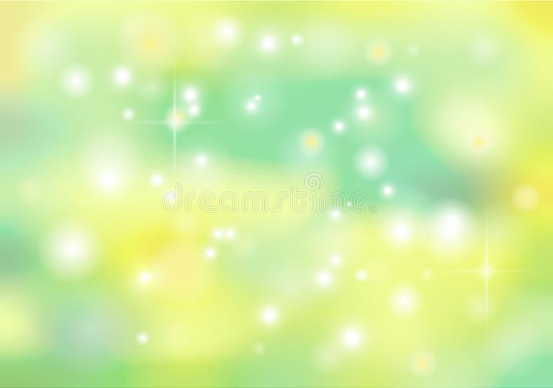 Spring vector bokeh abstract background in green and yellow colo stock illustration
