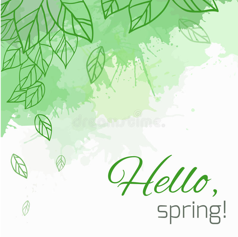 Spring vector card with doodle leaves and green blobs. For postcard, flyers, brochures and your business stock illustration