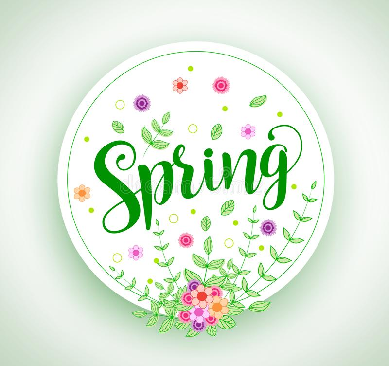 Spring vector design typography in circle with colorful flowers. And plants elements in white background for spring season. Vector illustration vector illustration