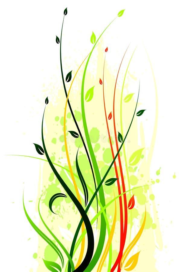 Spring vector illustration. With floral motive on grunge background vector illustration