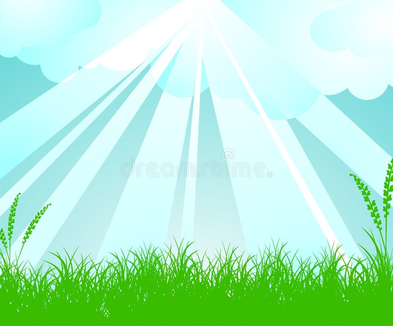 Spring vector landscape. With sky and shine royalty free illustration