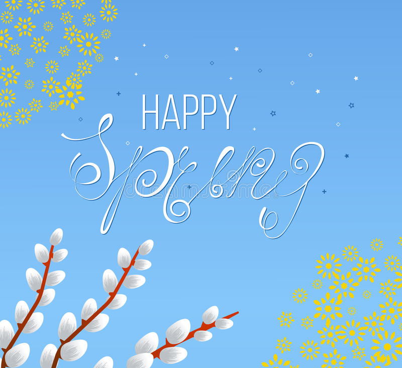 Spring vector typographic poster and logo. Spring typographic design. Spring greeting cards, Spring vector, Flowers vector. Spring typography, spring is here stock illustration