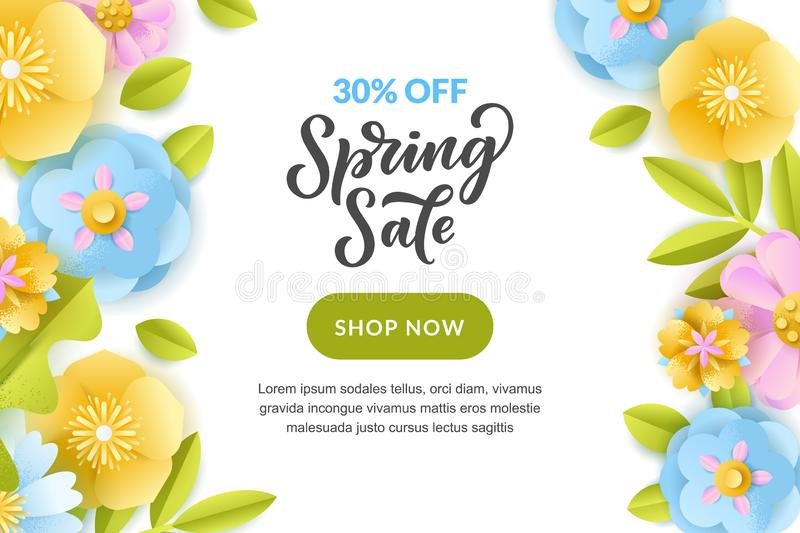 Spring vector white background with paper cut leaves and flowers. Sale banner, flyer or poster design template royalty free illustration