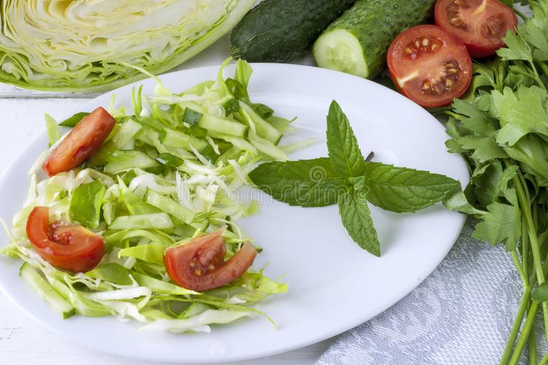 Spring vegan salad with cabbage, cucumber, tomato, green onions and parsley on a white plate stock image