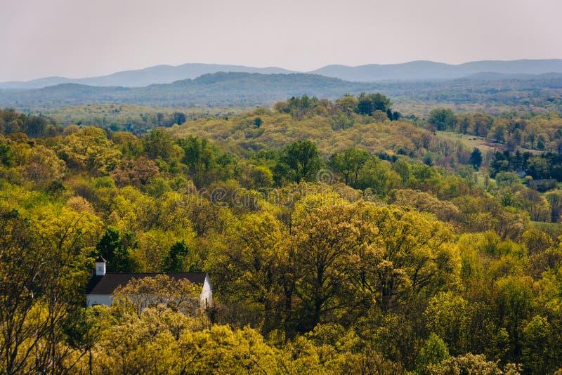 Spring view of the Appalachian Mountains from an overlook on I-64 near Waynesboro, Virginia. stock photos