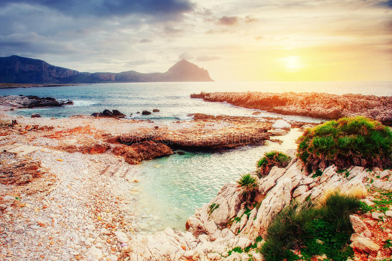 Spring view of the coast at sunset city Trapani. Sicily. Italy, Europe stock photography