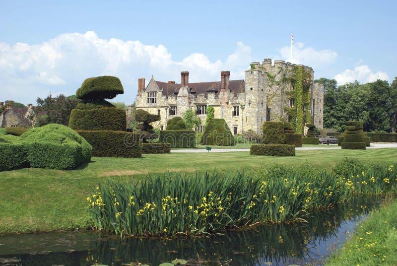 Spring view of a garden at a riverside. Hever castle, England stock image