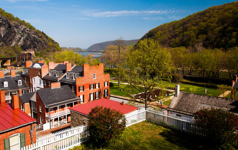 Spring view of Harper's Ferry, West Virginia royalty free stock images