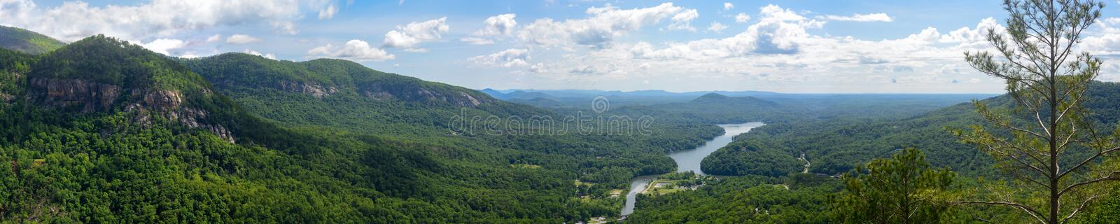 Wide panorama of lake lure in North Carolina, United States, as seen from Chimney Rock royalty free stock photos