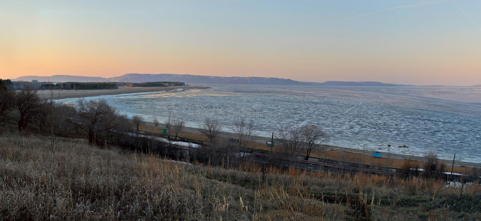 Spring view of the Volga river bank and Zhiguli mountains at sunrise. Shot made on the embankment of the city of Togliatti, Russia stock images