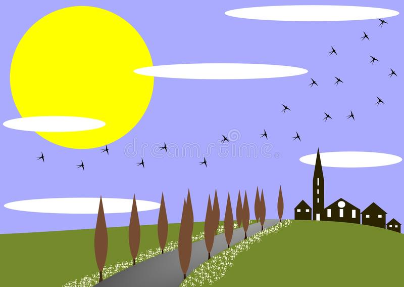 Spring in the village. An image that represents a village situated on a beautiful sunlit meadow royalty free illustration