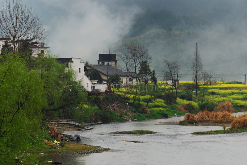 Spring in village with river. Photoed it in Wuyuan, JiangXi, China, the most beautiful village in china in spring. Ancient anhui antique apartment architecture stock photos