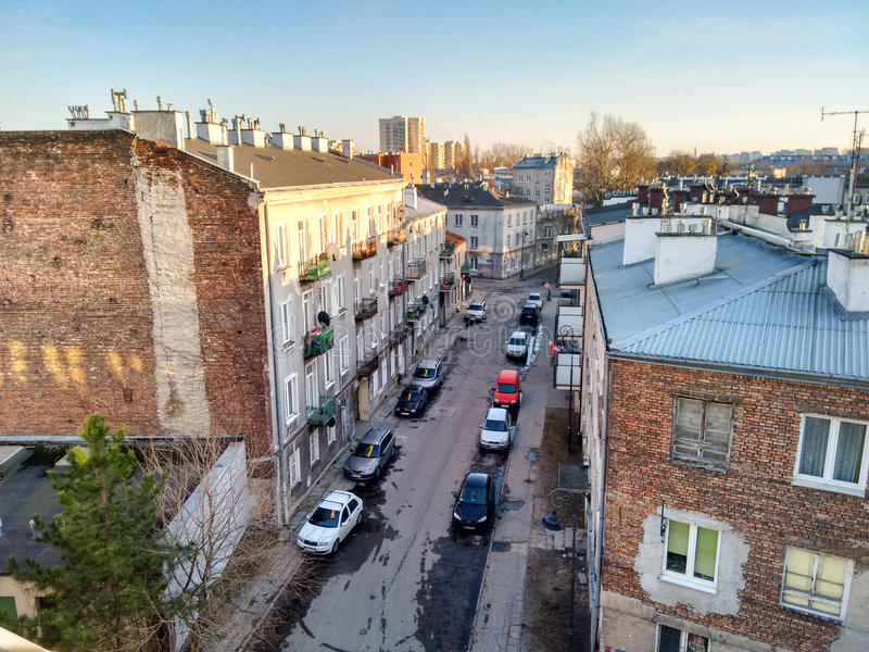 Spring Warsaw. Praga old part of Warsaw view of Drewnicka striet royalty free stock photos