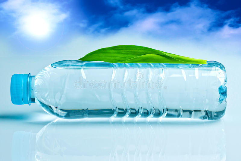Spring water. Purified spring water in the bottle and leaf royalty free stock image