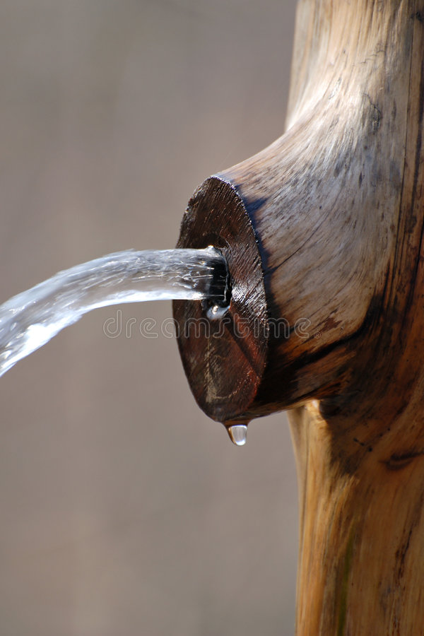 Spring Water. Cold and fresh spring water pouring from wood royalty free stock image