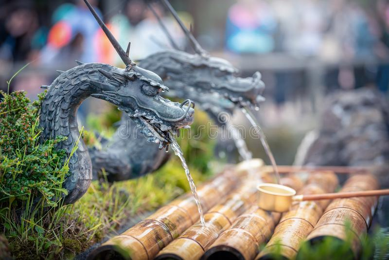 Spring water form dragon in Oshino Hakkai Village, Yamanashi Prefecture, Japan. royalty free stock photo