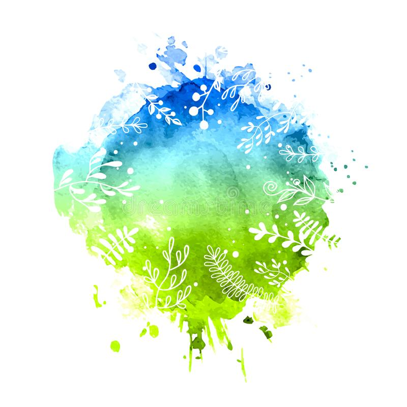 Spring watercolor background. Watercolor floral spring background green nature vector illustration