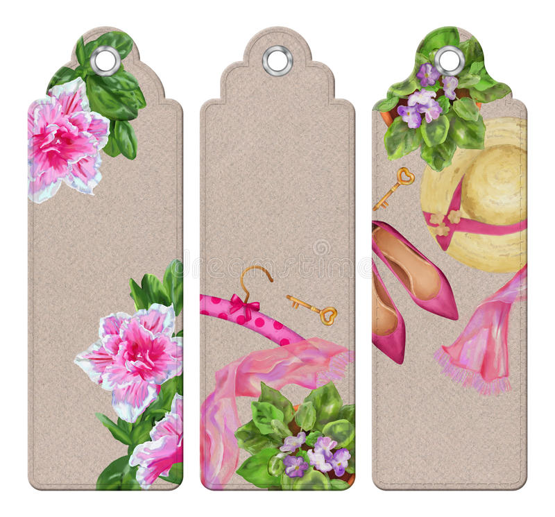 Spring Watercolor Bookmarks. With fashion woman objects and flowers stock illustration